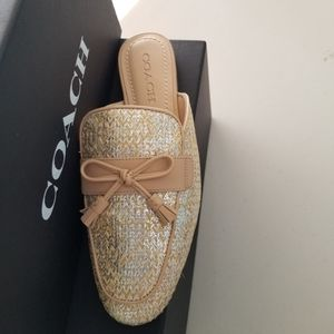 Coach Loafer Slide Shimmery Gold/Silver Sz 8